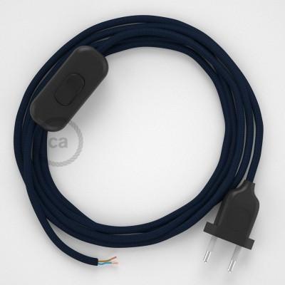 Napájací kábel pre stolnú lampu, RM20 Tmavo modrý hodvábny 1,80 m. Vyberte si farbu zástrčky a vypínača.
