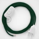 Napájací kábel pre stolnú lampu, RM21 Tmavo zelený hodvábny 1,80 m. Vyberte si farbu zástrčky a vypínača.