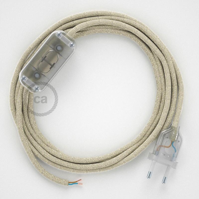 Napájací kábel pre stolnú lampu, RN01 Prírodný ľanový 1,80 m. Vyberte si farbu zástrčky a vypínača.
