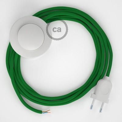 Napájací kábel pre podlahovú lampu, RM06 Zelený hodvábny 3 m. Vyberte si farbu zástrčky a vypínača.