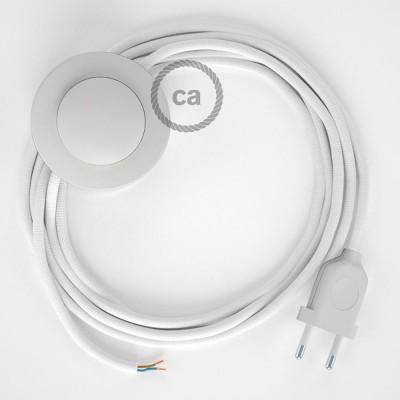 Napájací kábel pre podlahovú lampu, RM01 Biely hodvábny 3 m. Vyberte si farbu zástrčky a vypínača.