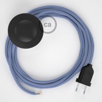 Napájací kábel pre podlahovú lampu, RM07 Lila hodvábny 3 m. Vyberte si farbu zástrčky a vypínača.