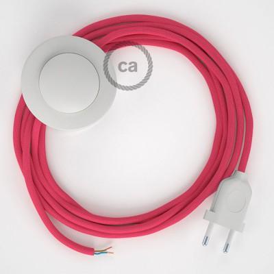 Napájací kábel pre podlahovú lampu, RM08 Fuchsiový hodvábny 3 m. Vyberte si farbu zástrčky a vypínača.