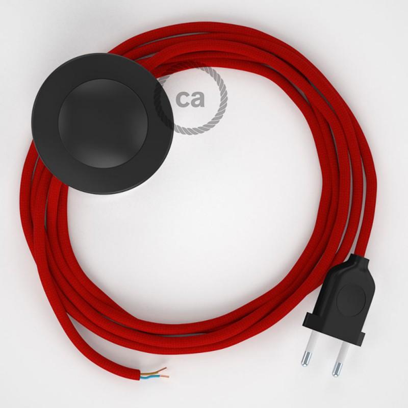 Napájací kábel pre podlahovú lampu, RM09 Červený hodvábny 3 m. Vyberte si farbu zástrčky a vypínača.