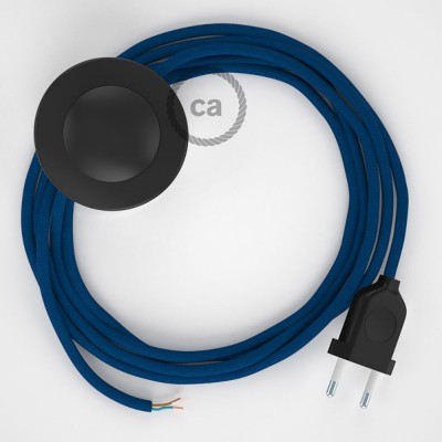 Napájací kábel pre podlahovú lampu, RM12 Modrý hodvábny 3 m. Vyberte si farbu zástrčky a vypínača.