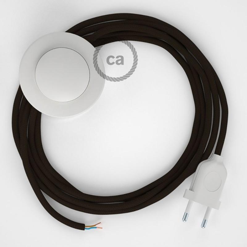 Napájací kábel pre podlahovú lampu, RM13 Hnedý hodvábny 3 m. Vyberte si farbu zástrčky a vypínača.