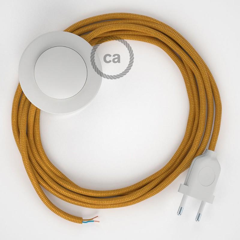 Napájací kábel pre podlahovú lampu, RM05 Zlatý hodvábny 3 m. Vyberte si farbu zástrčky a vypínača.