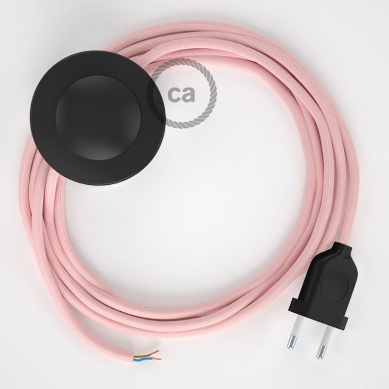 Napájací kábel pre podlahovú lampu, RM16 Ružový hodvábny 3 m. Vyberte si farbu zástrčky a vypínača.