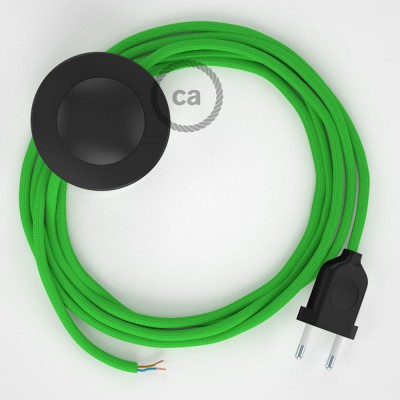 Napájací kábel pre podlahovú lampu, RM18 Limetkový hodvábny 3 m. Vyberte si farbu zástrčky a vypínača.