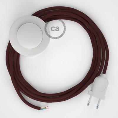 Napájací kábel pre podlahovú lampu, RM19 Bordový hodvábny 3 m. Vyberte si farbu zástrčky a vypínača.