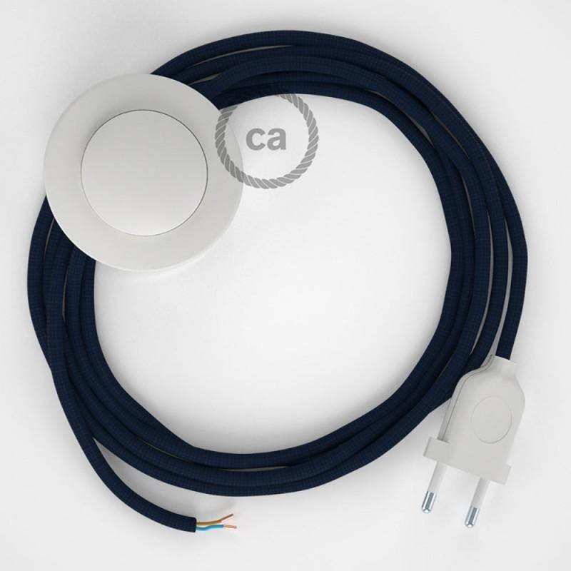 Napájací kábel pre podlahovú lampu, RM20 Tmavo modrý hodvábny 3 m. Vyberte si farbu zástrčky a vypínača.