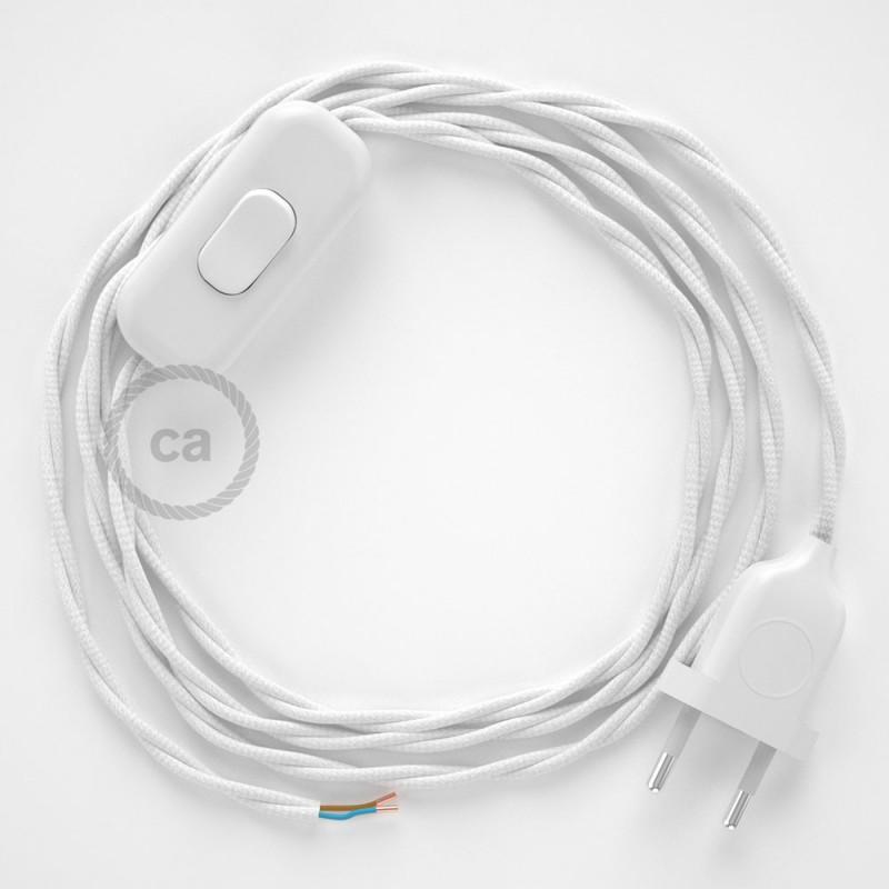 Napájací kábel pre stolnú lampu, TM01 Biely hodvábny 1,80 m. Vyberte si farbu zástrčky a vypínača.