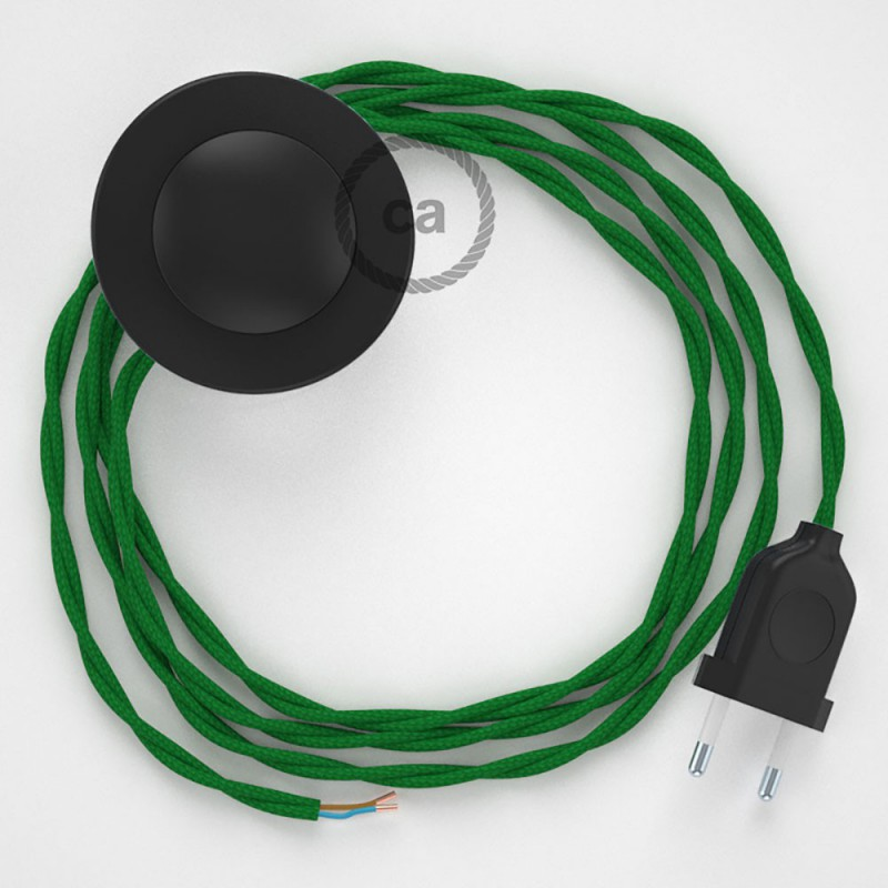 Napájací kábel pre podlahovú lampu, TM06 Zelený hodvábny 3 m. Vyberte si farbu zástrčky a vypínača.