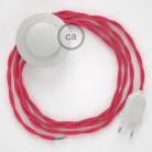 Napájací kábel pre podlahovú lampu, TM08 Fuchsiový hodvábny 3 m. Vyberte si farbu zástrčky a vypínača.
