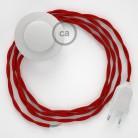 Napájací kábel pre podlahovú lampu, TM09 Červený hodvábny 3 m. Vyberte si farbu zástrčky a vypínača.