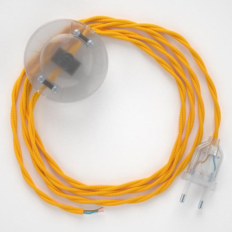 Napájací kábel pre podlahovú lampu, TM10 Žltý hodvábny 3 m. Vyberte si farbu zástrčky a vypínača.