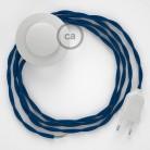 Napájací kábel pre podlahovú lampu, TM12 Modrý hodvábny 3 m. Vyberte si farbu zástrčky a vypínača.