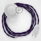 Napájací kábel pre podlahovú lampu, TM14 Fialový hodvábny 3 m. Vyberte si farbu zástrčky a vypínača.