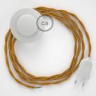 Napájací kábel pre podlahovú lampu, TM05 Zlatý hodvábny 3 m. Vyberte si farbu zástrčky a vypínača.
