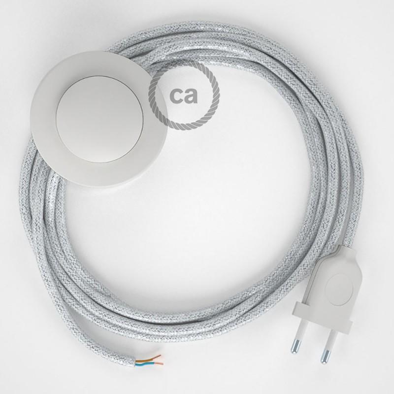 Napájací kábel pre podlahovú lampu, RL01 Trblietavý biely hodvábny 3 m. Vyberte si farbu zástrčky a vypínača.