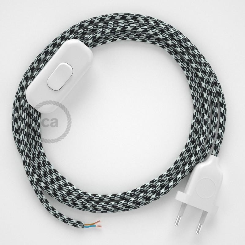 Napájací kábel pre stolnú lampu, RP04 Bielo - čierny hodvábny 1,80 m. Vyberte si farbu zástrčky a vypínača.