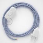 Napájací kábel pre stolnú lampu, RZ07 Cik - cak lila hodvábny 1,80 m. Vyberte si farbu zástrčky a vypínača.