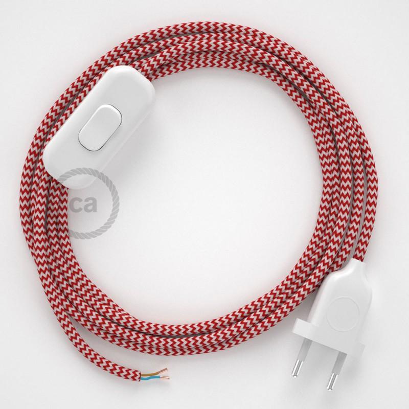 Napájací kábel pre stolnú lampu, RZ09 Cik - cak červený hodvábny 1,80 m. Vyberte si farbu zástrčky a vypínača.
