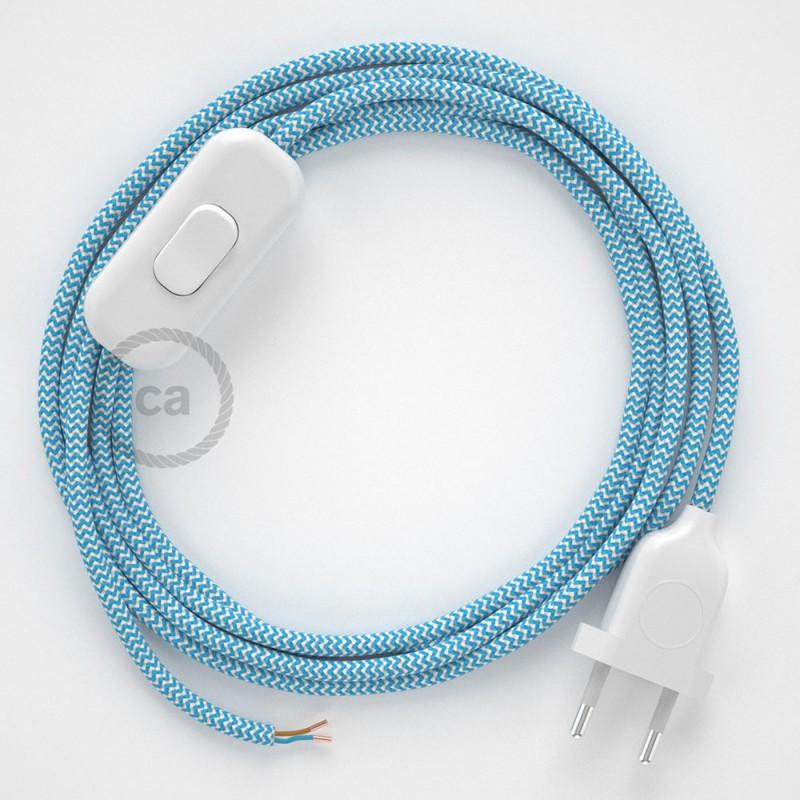 Napájací kábel pre stolnú lampu, RZ11 Cik - cak tyrkysový hodvábny 1,80 m. Vyberte si farbu zástrčky a vypínača.