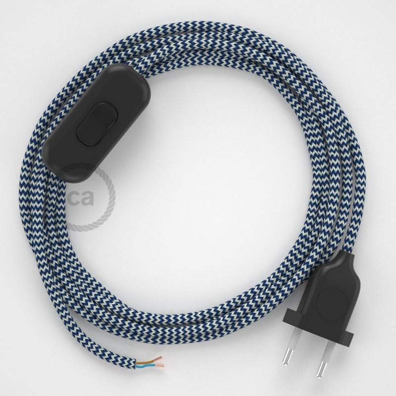 Napájací kábel pre stolnú lampu, RZ12 Cik - cak modrý hodvábny 1,80 m. Vyberte si farbu zástrčky a vypínača.