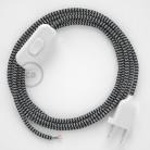 Napájací kábel pre stolnú lampu, RZ04 Cik - cak čierny hodvábny 1,80 m. Vyberte si farbu zástrčky a vypínača.