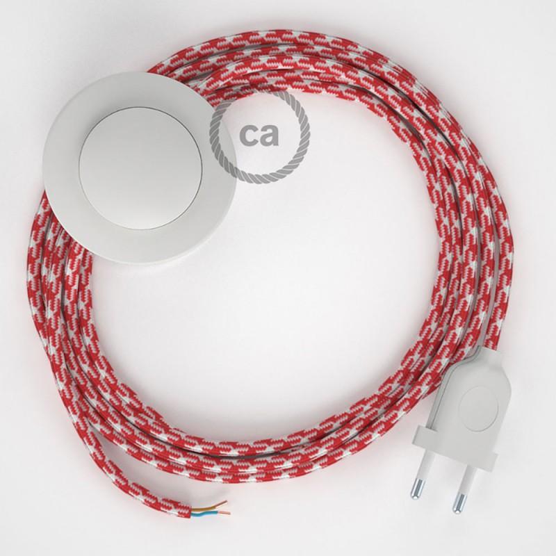 Napájací kábel pre podlahovú lampu, RP09 Bielo - červený  hodvábny 3 m. Vyberte si farbu zástrčky a vypínača.