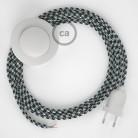 Napájací kábel pre podlahovú lampu, RP04 Bielo - čierny hodvábny 3 m. Vyberte si farbu zástrčky a vypínača.