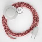Napájací kábel pre podlahovú lampu, RZ09 Cik - cak červený hodvábny 3 m. Vyberte si farbu zástrčky a vypínača.