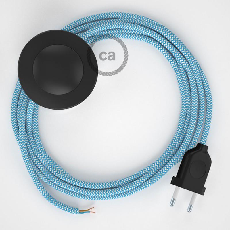 Napájací kábel pre podlahovú lampu, RZ11 Cik - cak tyrkysový hodvábny 3 m. Vyberte si farbu zástrčky a vypínača.