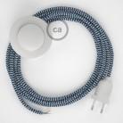 Napájací kábel pre podlahovú lampu, RZ12 Cik - cak modrý hodvábny 3 m. Vyberte si farbu zástrčky a vypínača.