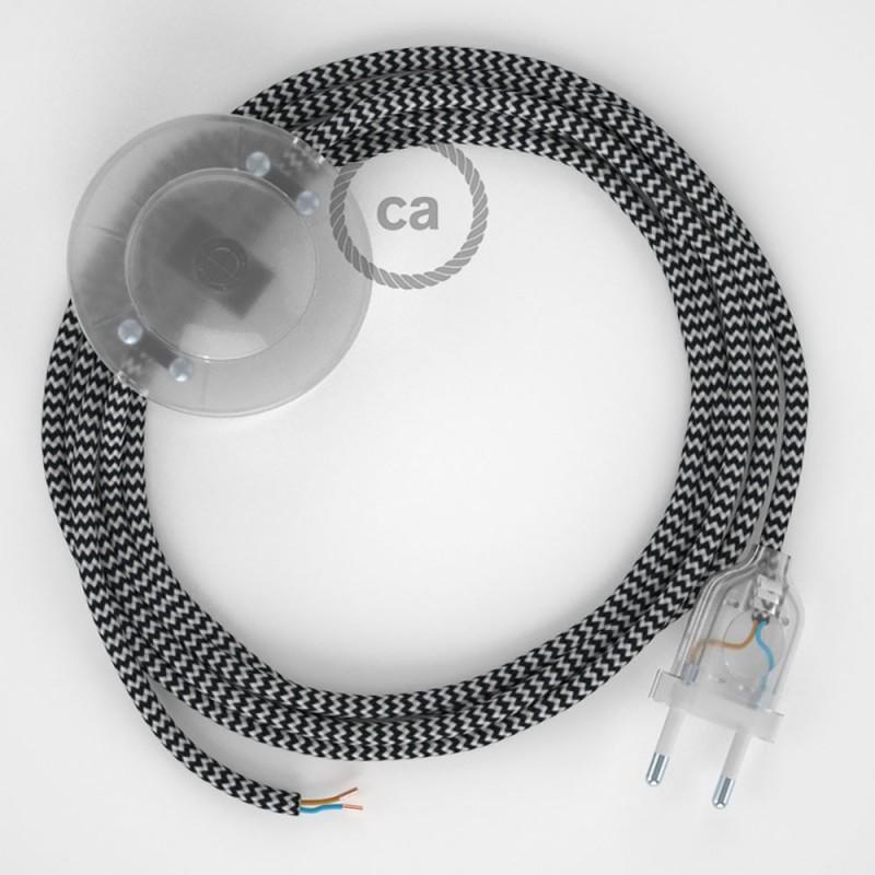 Napájací kábel pre podlahovú lampu, RZ04 Cik - cak čierny hodvábny 3 m. Vyberte si farbu zástrčky a vypínača.