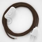 Napájací kábel pre stolnú lampu, RL13 Trblietavý hnedý hodvábny 1,80 m. Vyberte si farbu zástrčky a vypínača.