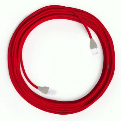 LAN sieťový textilný kábel Cat 5e s konektormi RJ45 - umelý hodváb, RM09 Červená