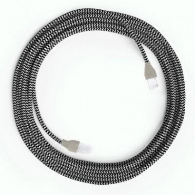 LAN sieťový textilný kábel Cat 5e s konektormi RJ45 - umelý hodváb, RZ04 Čierno-biely cik cak