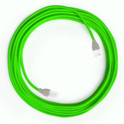 LAN sieťový textilný kábel Cat 5e s konektormi RJ45 - umelý hodváb, RF06 Fluo zelená