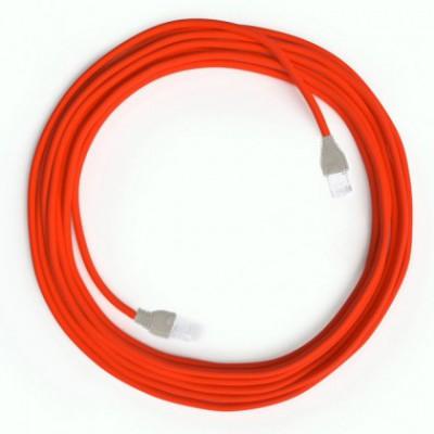 LAN sieťový textilný kábel Cat 5e s konektormi RJ45 - umelý hodváb, RF15 Fluo oranžová