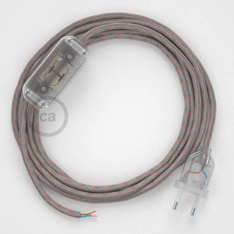 Napájací kábel pre stolnú lampu, RD51 Prúžkovaný staroružový bavlneno - ľanový 1,80 m. Vyberte si farbu zástrčky a vypínača.