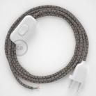 Napájací kábel pre stolnú lampu, RD64 Kosoštvorcový antracitový bavlneno - ľanový 1,80 m. Vyberte si farbu zástrčky a vypínača.