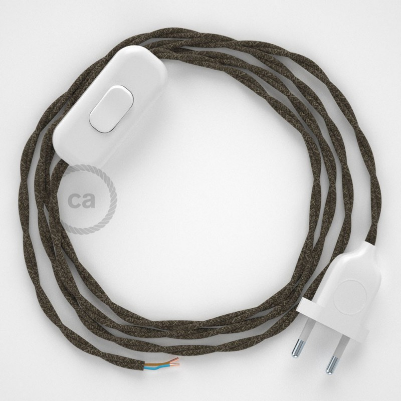 Napájací kábel pre stolnú lampu, TN04 Hnedý ľanový 1,80 m. Vyberte si farbu zástrčky a vypínača.