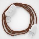 Napájací kábel pre stolnú lampu, TC23 Jelení hnedý bavlnený 1,80 m. Vyberte si farbu zástrčky a vypínača.