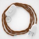 Napájací kábel pre stolnú lampu, TM22 Whisky hodvábny 1,80 m. Vyberte si farbu zástrčky a vypínača.