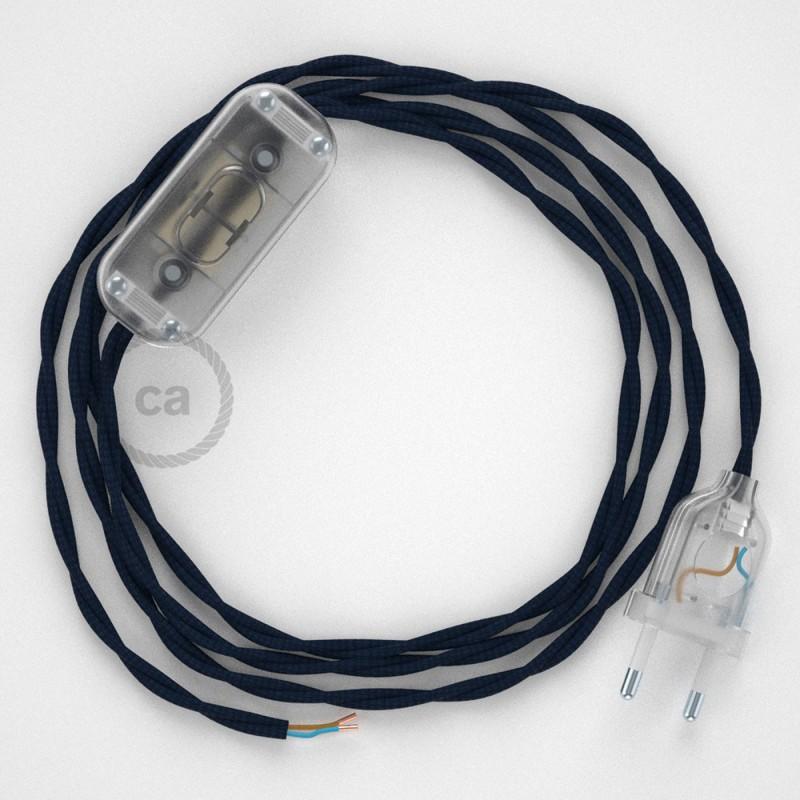 Napájací kábel pre stolnú lampu, TM20 Tmavo modrý hodvábny 1,80 m. Vyberte si farbu zástrčky a vypínača.