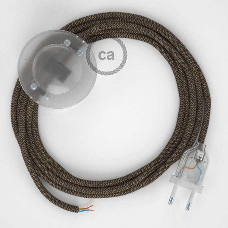 Napájací kábel pre podlahovú lampu, RD73 Cik - cak kôrový bavlneno - ľanový 3 m. Vyberte si farbu zástrčky a vypínača.