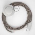 Napájací kábel pre podlahovú lampu, RD63 Kosoštvorcový kôrový bavlneno - ľanový 3 m. Vyberte si farbu zástrčky a vypínača.