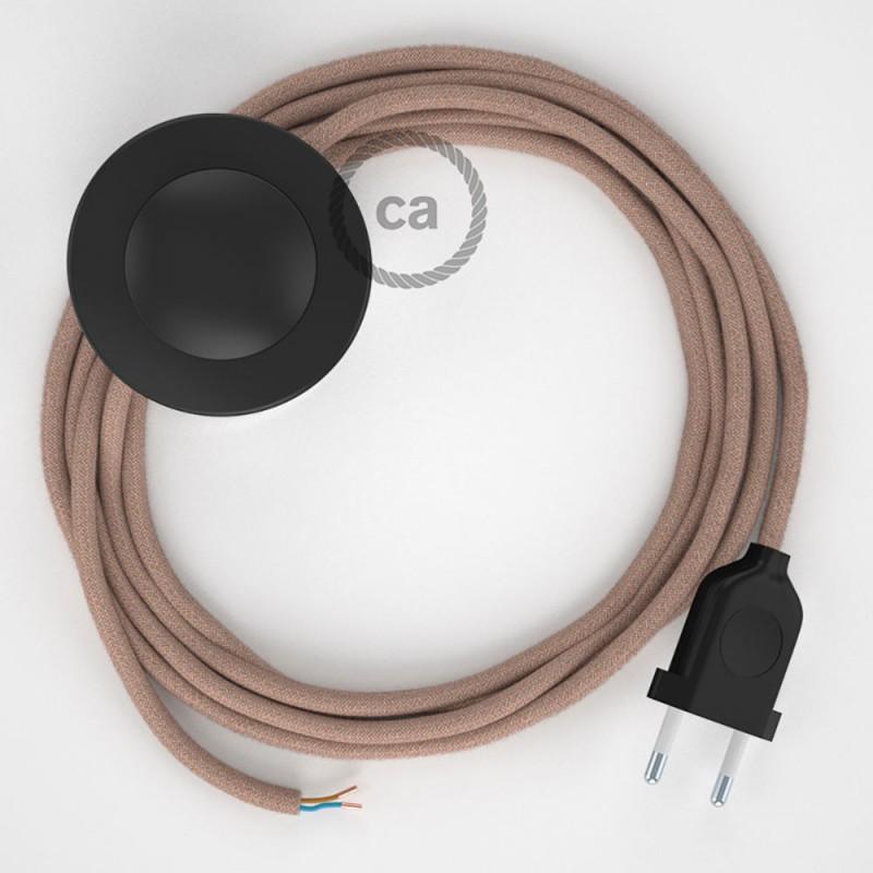 Napájací kábel pre podlahovú lampu, RD71 Cik - cak staroružový bavlneno - ľanový 3 m. Vyberte si farbu zástrčky a vypínača.